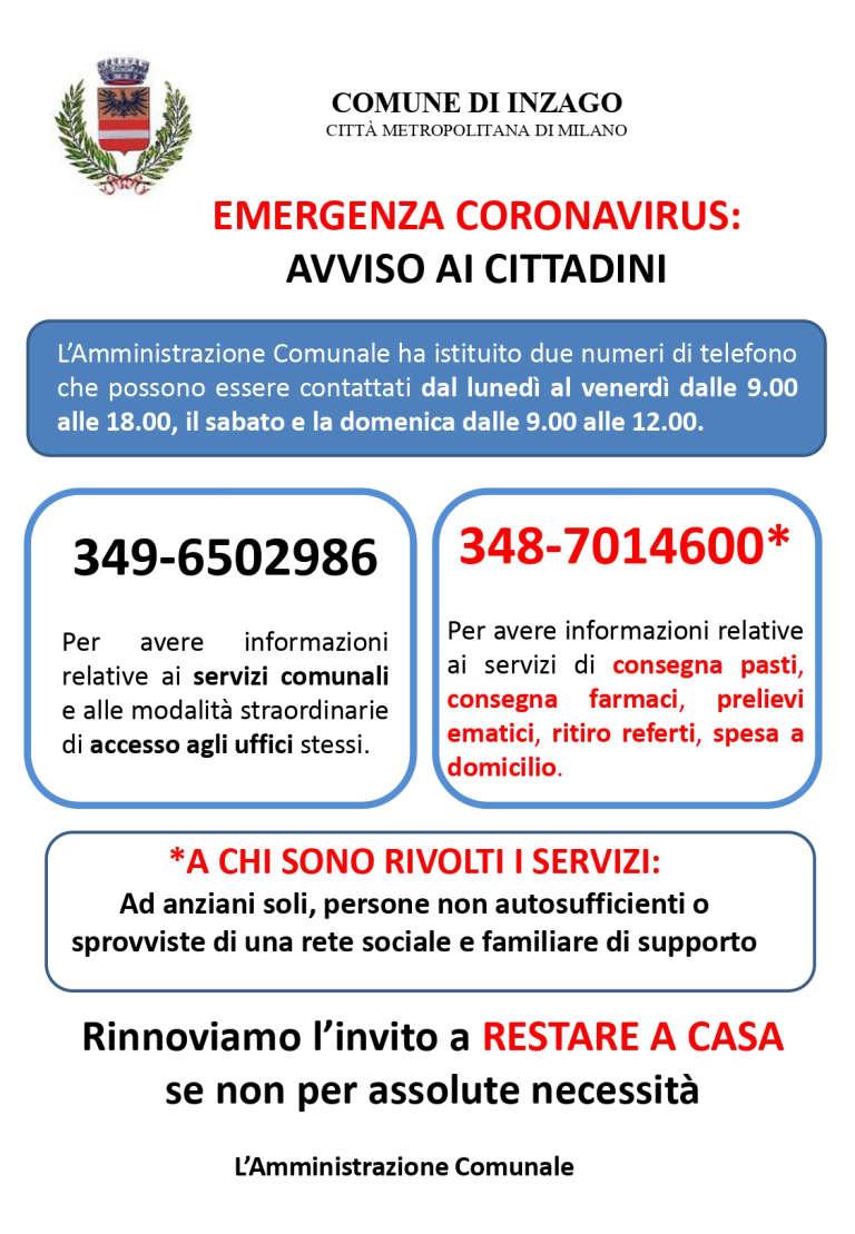 Info e numeri di telefono utili per INZAGO