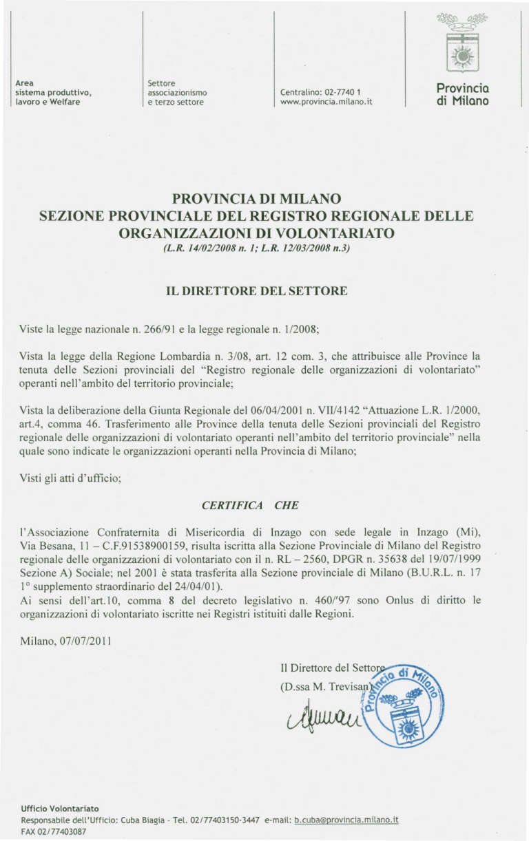 2011 certificazione iscrizione registro regionale ONLUS