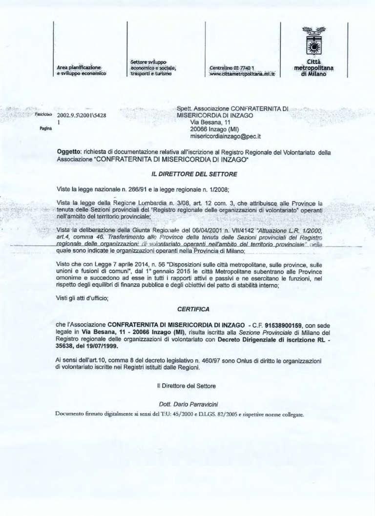 2018 certificazione iscrizione registro regionale ONLUS