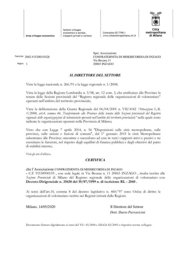 2020 certificazione iscrizione registro regionale ONLUS